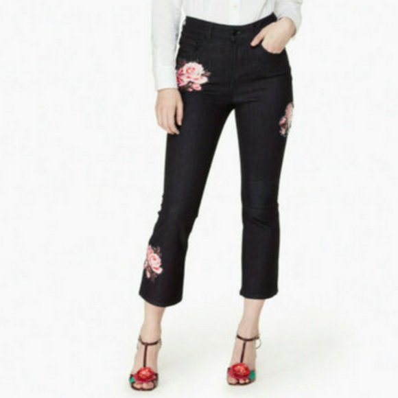 Kate Spade Broome Street Rose Kick Flare Jeans 25
